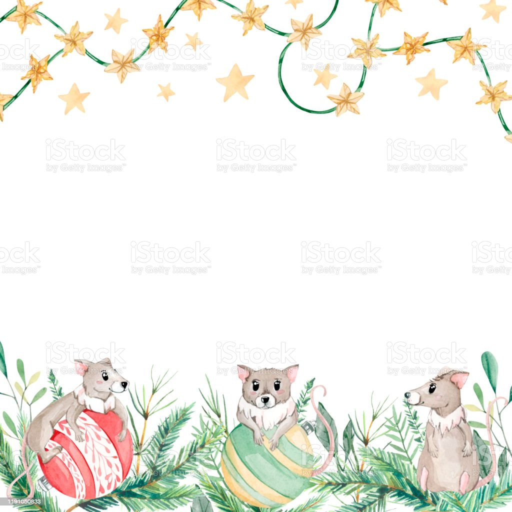 Watercolor Christmas Banner With Green Branches And Ute Mouse Design Happy New Year Ilustration For Greeting Cards And Frames Stock Illustration Download Image Now Istock