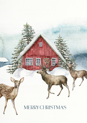 Watercolor Christmas card of red house and deers in winter forest. Hand painted illustration with fir trees and snow isolated on white background. Holiday card for design, print, fabric, background.