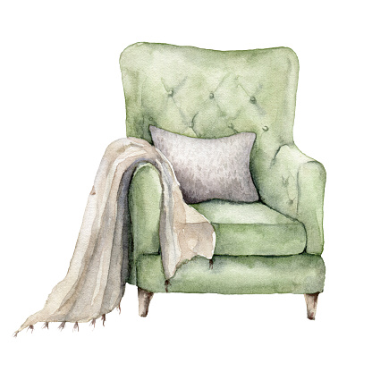 Watercolor Christmas card with armchair, pillow and blanket. Hand painted winter house illustration isolated on white background. Holiday card for design, print, fabric or background.
