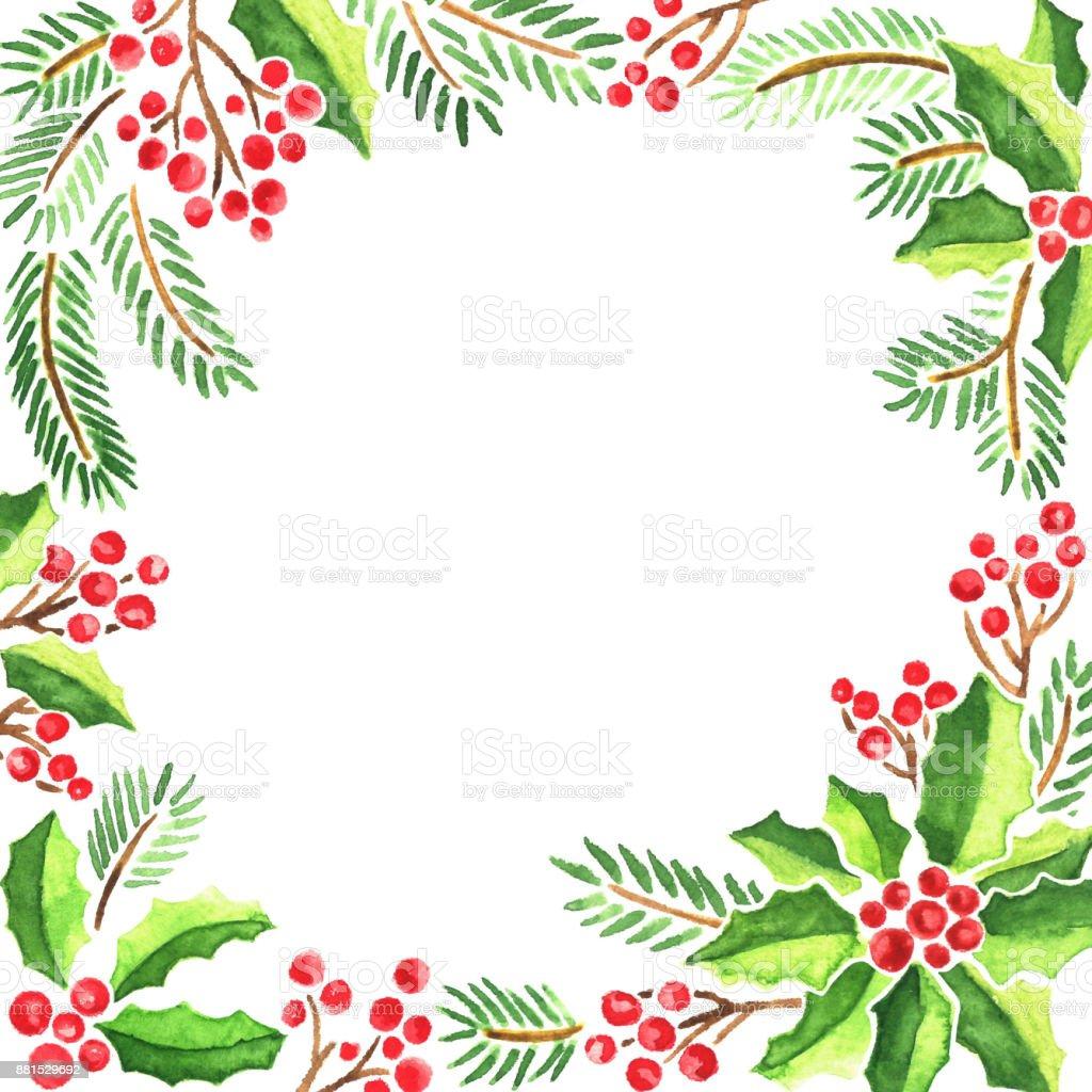 Ilustración de Acuarela Tarjeta De Navidad Con Evergeen Las Plantas ...