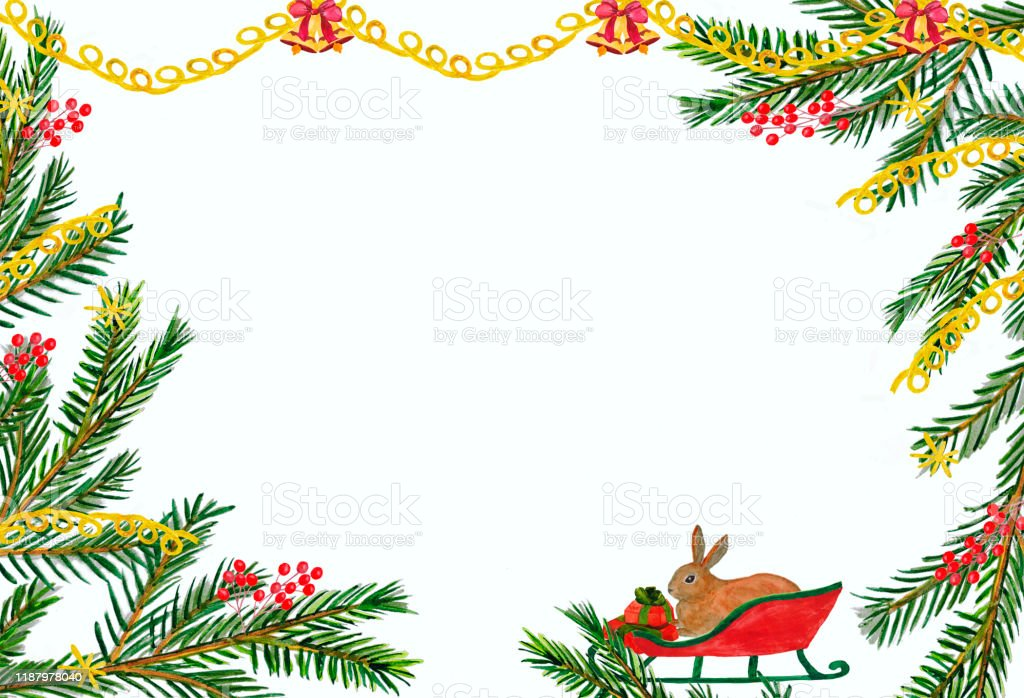 Watercolor Christmas Card With Fir Branches Sleigh Rabbit And Gifts Illustration For Cards And Congratulations Stock Illustration Download Image Now Istock