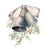 Watercolor Christmas composition with silver bells and bow. Hand painted holiday decor with fir branch isolated on white background. Vintage illustration for design, print, fabric or background