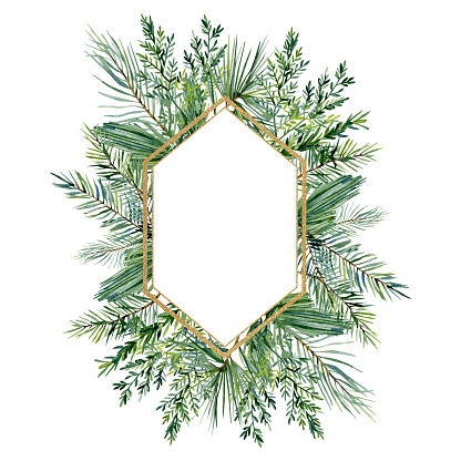 Watercolor Christmas frame with fir branches and leaves. Winter greenery banner  for christmas card, greeting card, bridal card, wedding invintation, baby shower.