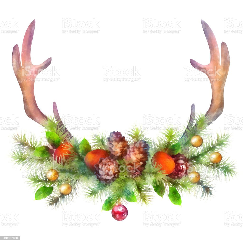 Christmas Tree Made Of Deer Antlers: Watercolor Christmas Garland And Deer Antler Stock Vector