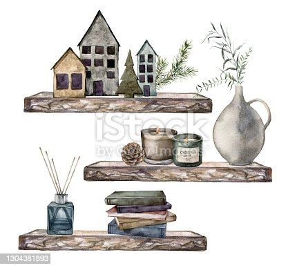 istock Watercolor Christmas objects composition with shelves, houses, candle, books and fir branches. Hand painted holiday card isolated on white background. Illustration for design, print or background. 1304381893