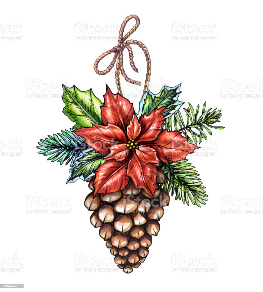 watercolor christmas ornament decorated pine cone illustration rh istockphoto com winter holiday clip art images winter holiday clip art pictures