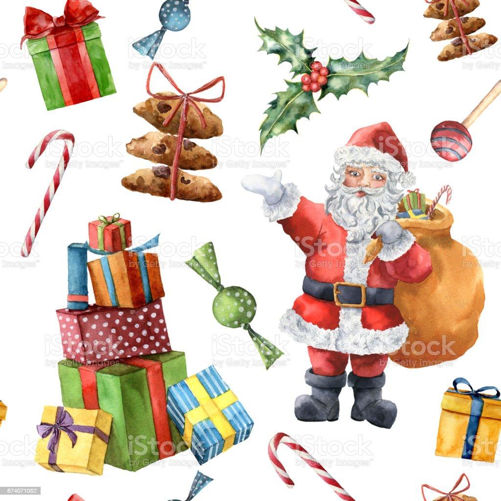 Aquarell Weihnachten Muster Mit Santa Claus Handgemalte Weihnachten ...