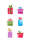 istock Watercolor Christmas Presents Isolated on White Background 1181905551