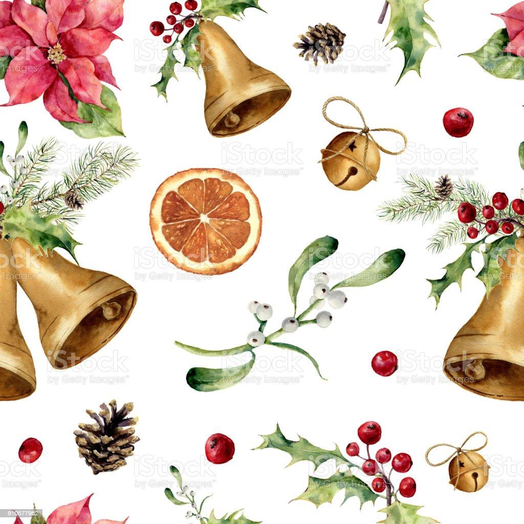 Sulu Boya Noel Seamless Modeli Yılbaşı Ağacı Süsleme Bell Holly ökse