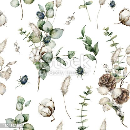 istock Watercolor Christmas seamless pattern with eucalyptus, fir branches, lagurus, blue Thistle and cotton. Hand painted holiday illustration isolated on white background. For design, print or background. 1304342860