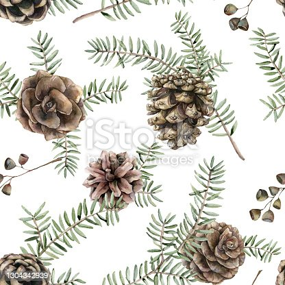 istock Watercolor Christmas seamless pattern with fir branches and pine cones. Hand painted holiday art with plants isolated on white background. Floral illustration for design, print, fabric or background. 1304342939