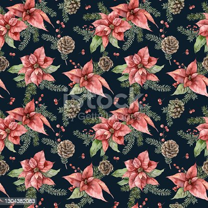 istock Watercolor Christmas seamless pattern with poinsettia, fir branches and pine cone. Hand painted holiday flowers isolated on black background. Illustration for design, print, fabric or background 1304382083