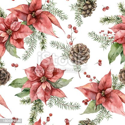 istock Watercolor Christmas seamless pattern with poinsettia, pine cone and fir branches. Hand painted holiday flowers isolated on white background. Illustration for design, print, fabric or background. 1304376160