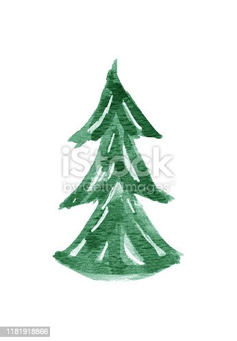 istock Watercolor Christmas Tree Isolated on White Background 1181918866