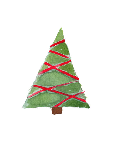 Watercolor Christmas Tree Isolated on White Background vector art illustration