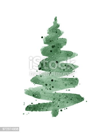 A green, abstract Christmas tree painted in watercolor with loose brush strokes and paint splatters. This watercolor painting is isolated on a white background.