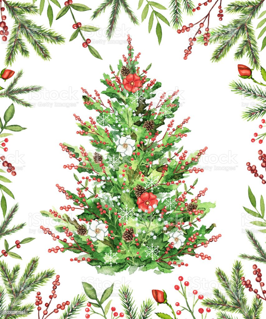 Watercolour Christmas Tree: Watercolor Christmas Tree With Flowers Berries And Cones