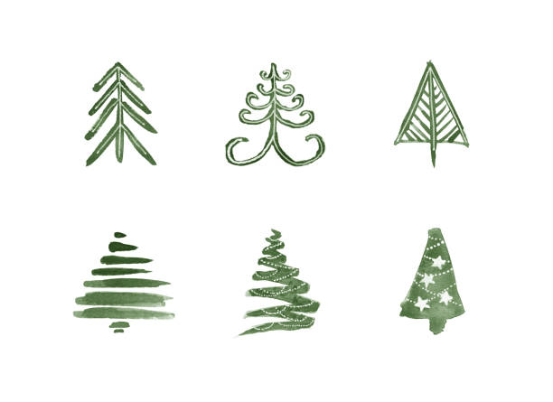 Watercolor Christmas Trees Isolated on White Background vector art illustration