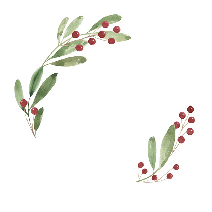 Watercolor Christmas wreath. Green twigs and red berries. Holiday, christmas, new year, 2021. Print, postcard, gift, decoration, welcome, winter.