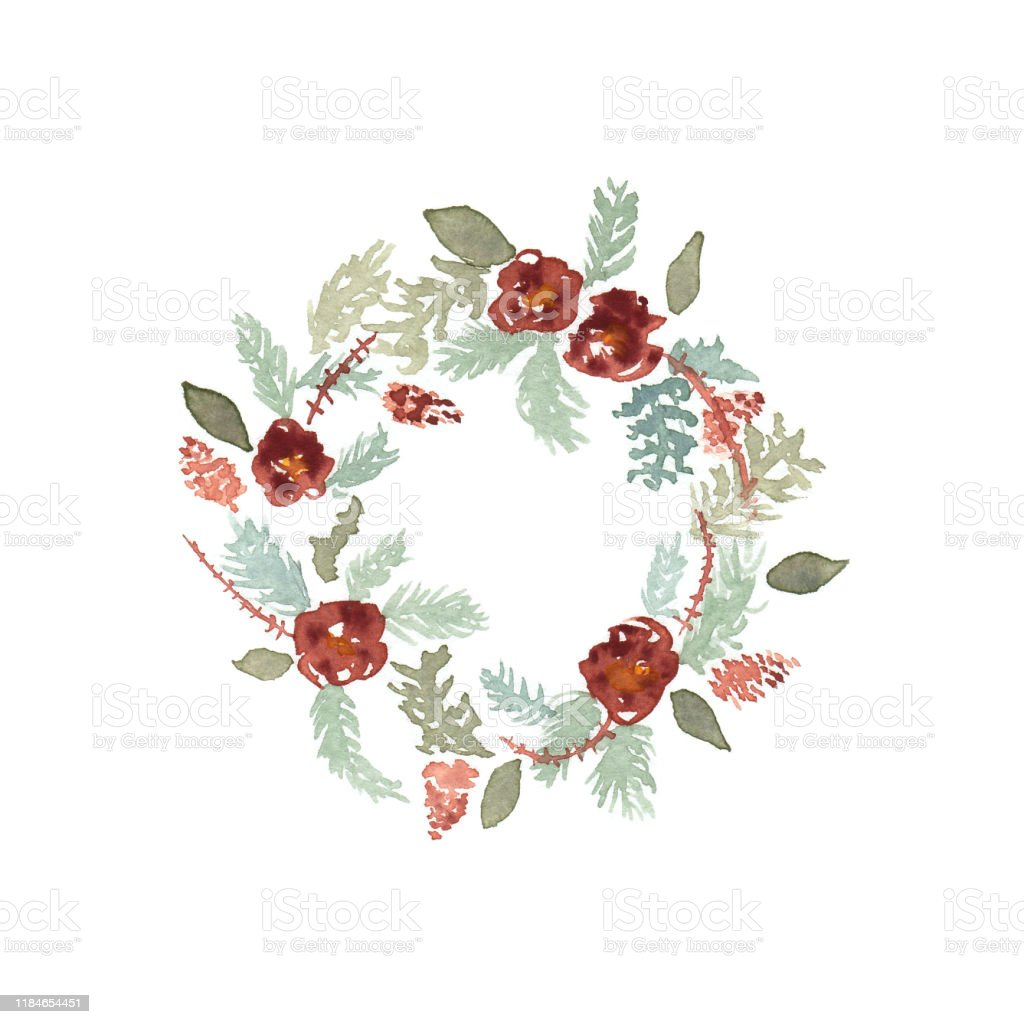 Watercolor Christmas Wreath Isolated On White Background Stock Illustration Download Image Now Istock