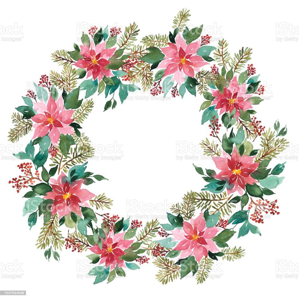 Watercolor Christmas Wreath Of Evergeen Plants Frame Arrangement Of