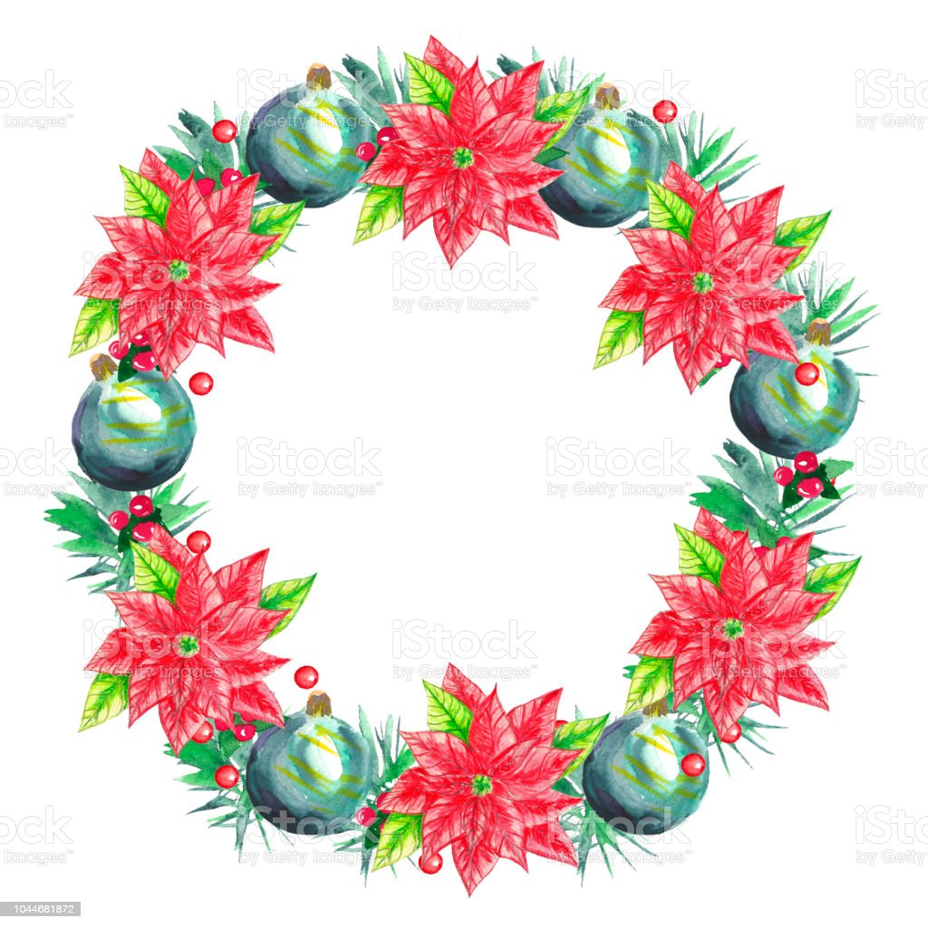Watercolor Christmas Wreath On White Background Hand Drawn Hand ...