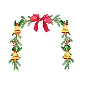 Watercolor Christmas wreath with fir branches, bells and red bow. Illustration for greeting floral postcard and invitations isolated on white background.