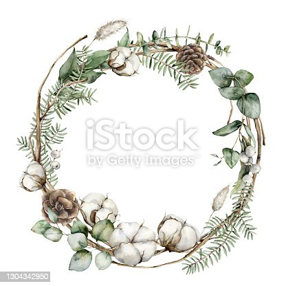 istock Watercolor Christmas wreath with fir branches, cotton and lagurus. Hand painted holiday frame with plants isolated on white background. Floral illustration for design, print, fabric or background. 1304342950
