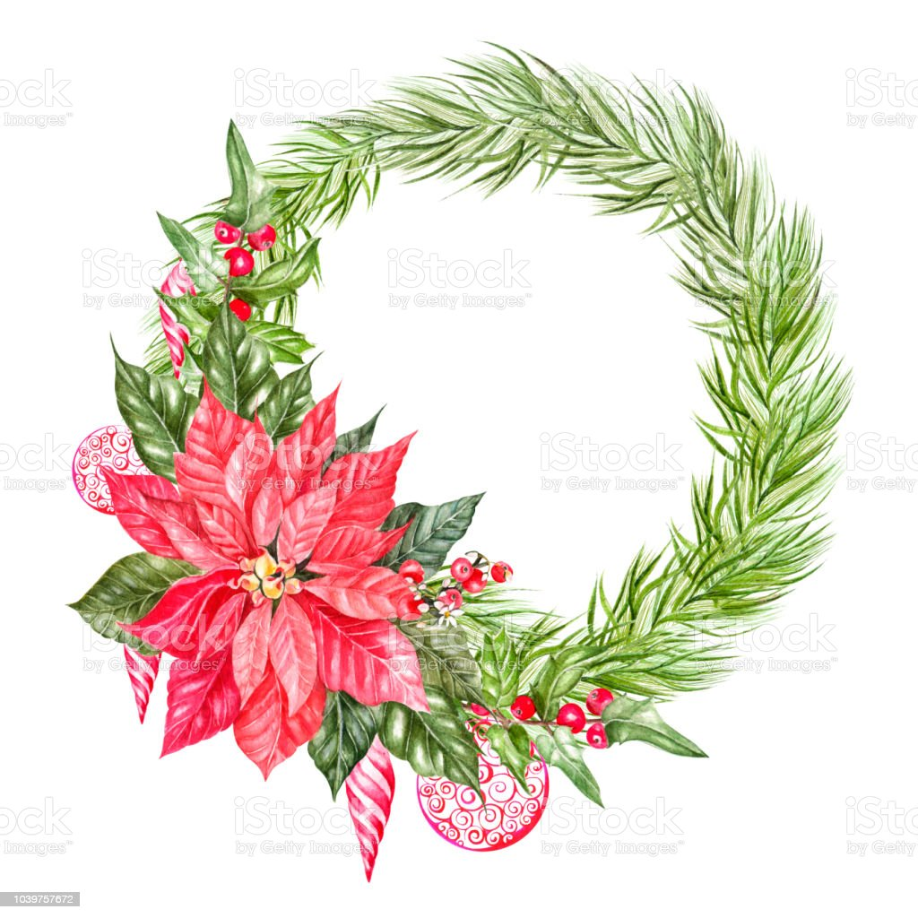 Watercolor Christmas Wreath With Fir Branches Illustration For ...