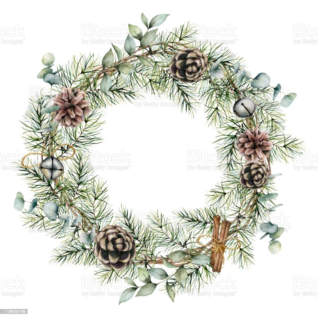 Watercolor Christmas Wreath With Pine Cones Decor Hand Painted Card With Bells Cinnamon Eucalyptus And Pine Branches Isolated On White Background Floral Illustration For Design Or Print Stock Illustration Download Image