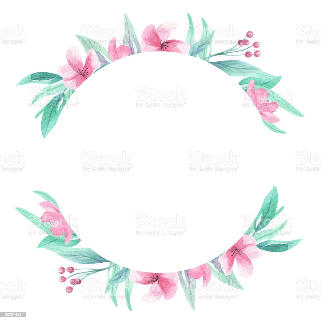Watercolor Circle Pink Aqua Flowers Floral Blooms Frame Border Royalty Free