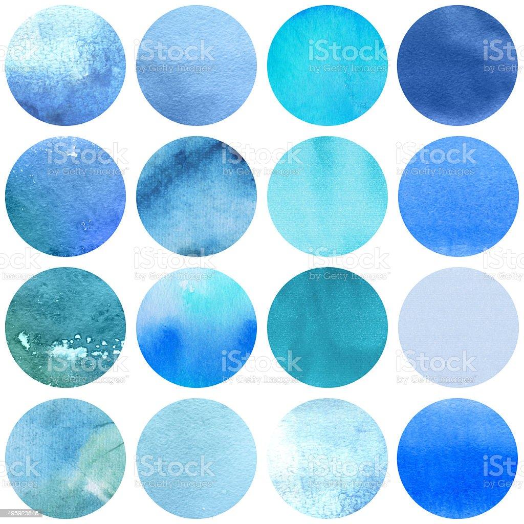 Watercolor circles collection  blue colors. vector art illustration
