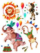 Watercolor circus.