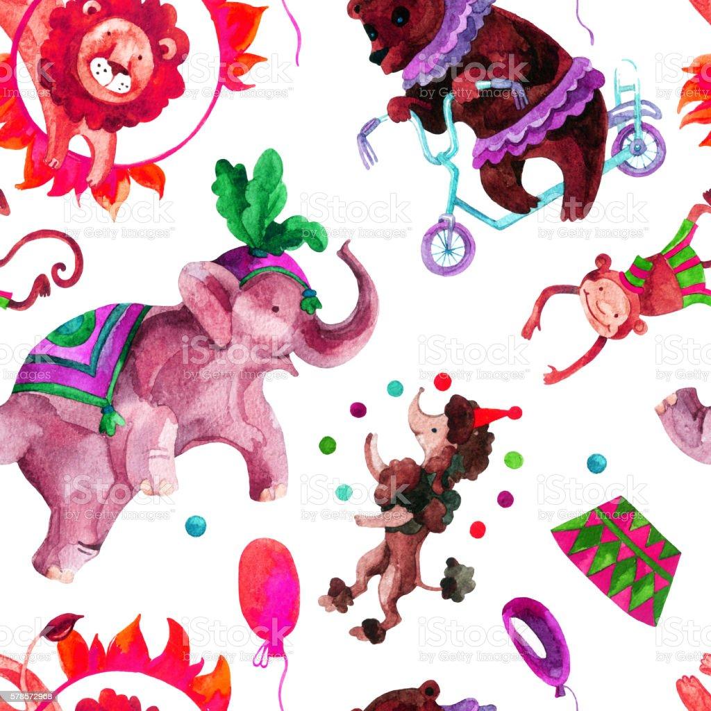 Watercolor circus. vector art illustration