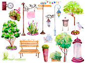Watercolor city, set of hand-painted illustration elements isolated on white background 1