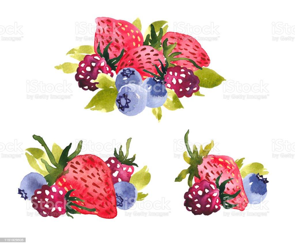 Tatli Yaz Meyveleri Suluboya Kucuk Resim Duzenlemeleri Cilek