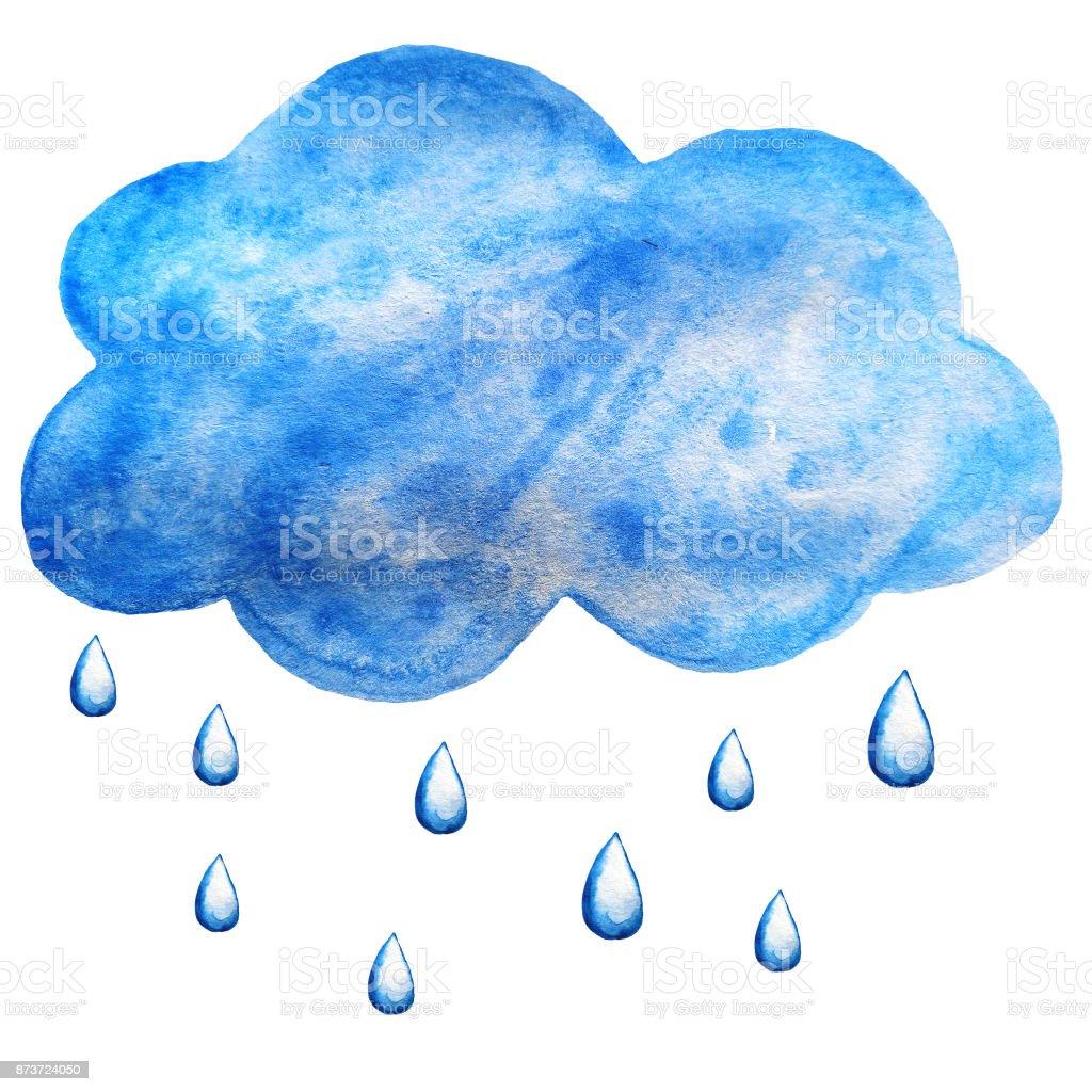 Sulu Boya Bulut Ve Yagmur Damlalari Stok Vektor Sanati Akrilik