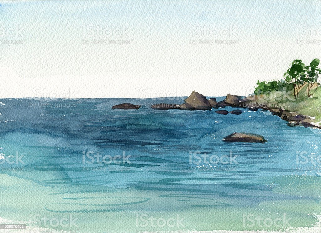 watercolor coast of sea vector art illustration
