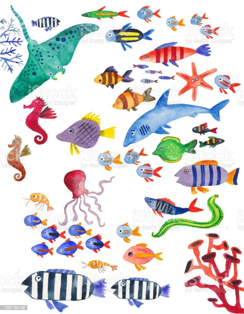 Ilustración de Colección Acuarela De Pescados De Mar Mundo Submarino ...
