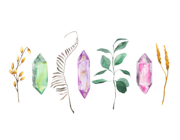 Watercolor collection with abstract leaves and crystal gems Watercolor collection with abstract leaves and crystal gems isolated on white background crystals stock illustrations