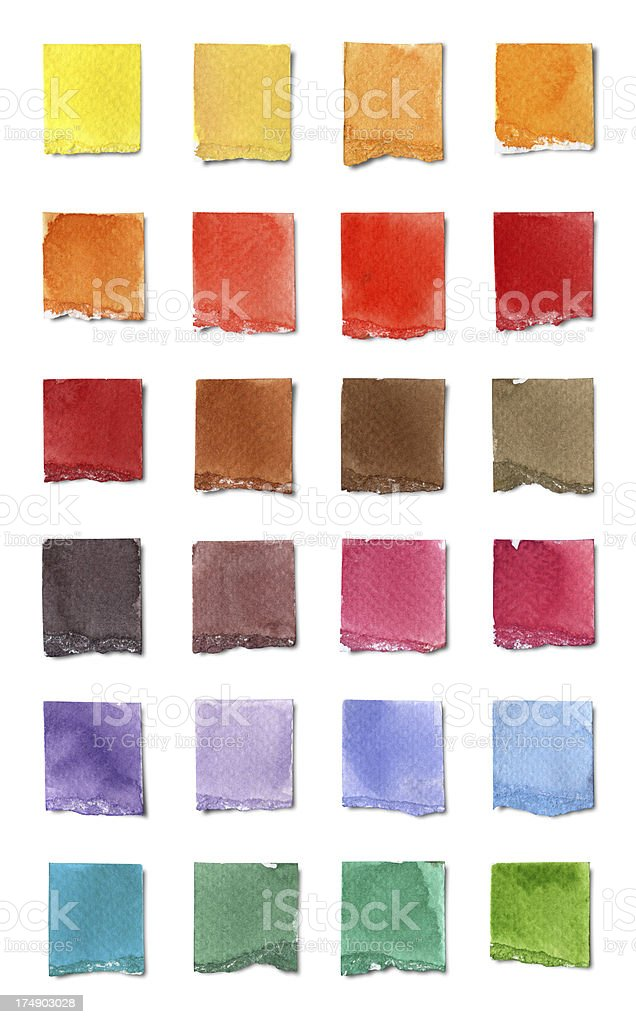Watercolor Color Chart (Clipping Path) royalty-free stock vector art