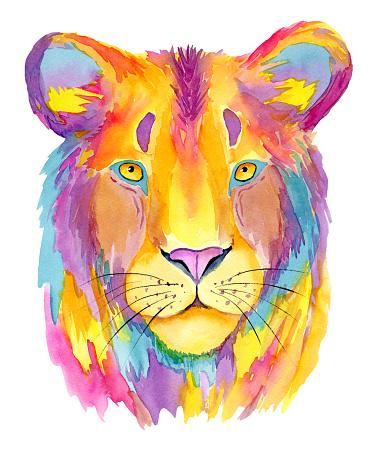 Watercolor colorful lioness portrait