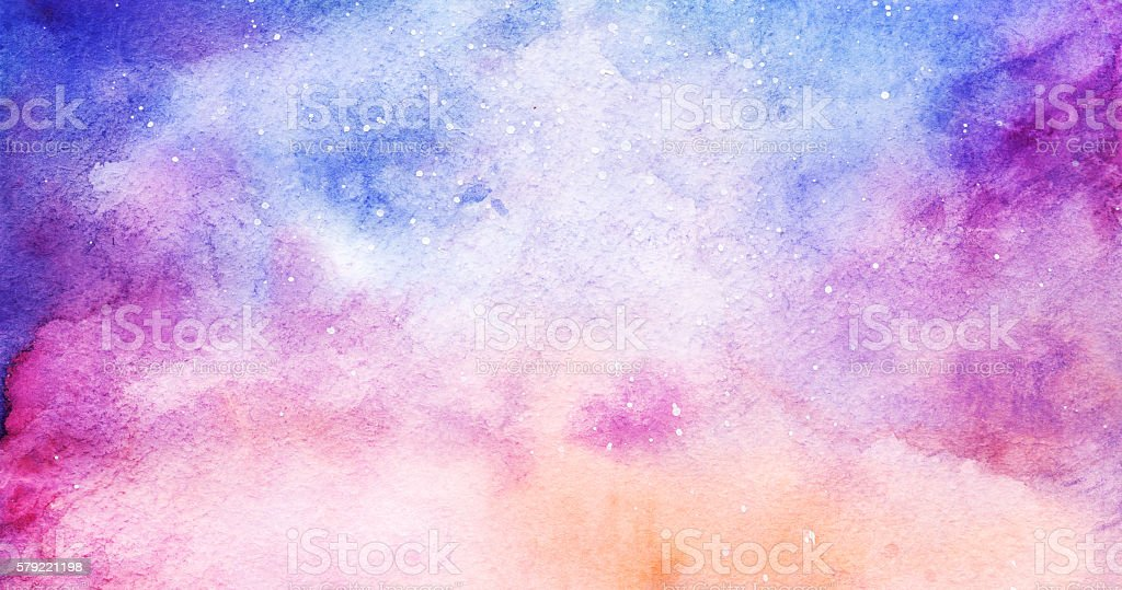 Watercolor colorful starry space galaxy nebula background vector art illustration