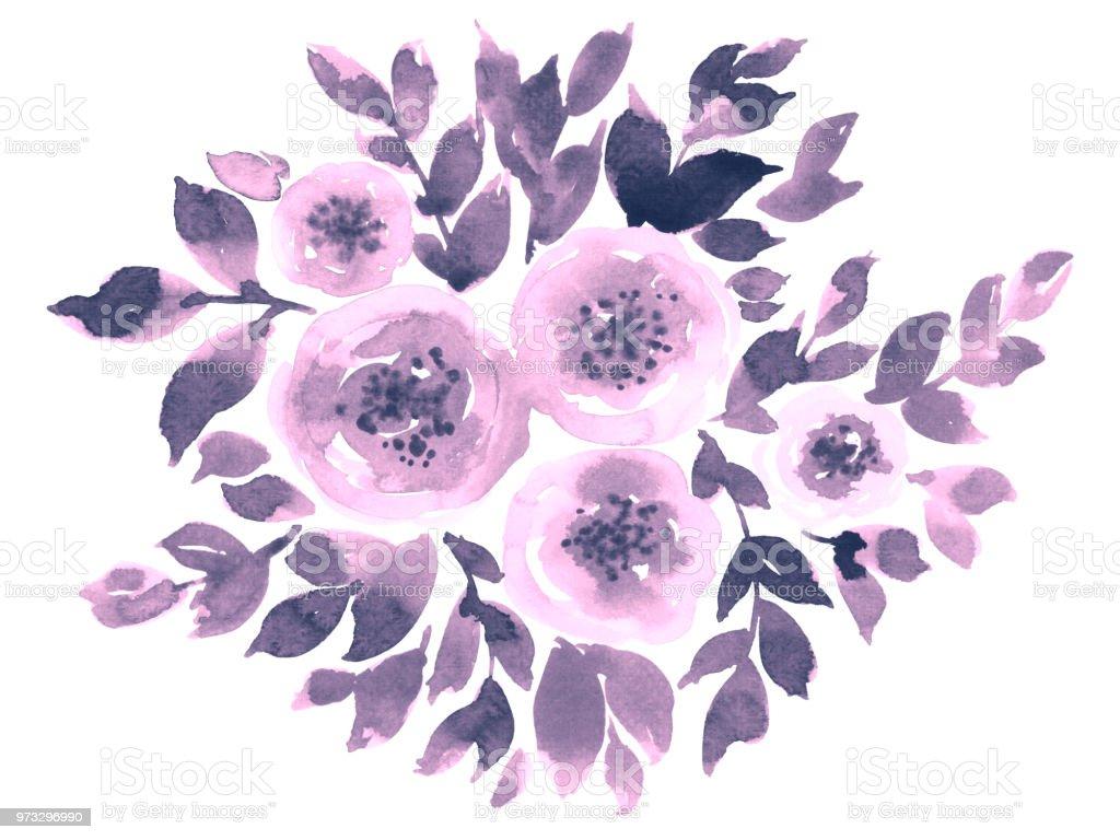 Ilustración De Acuarela Composición Con Flores Sueltas Y