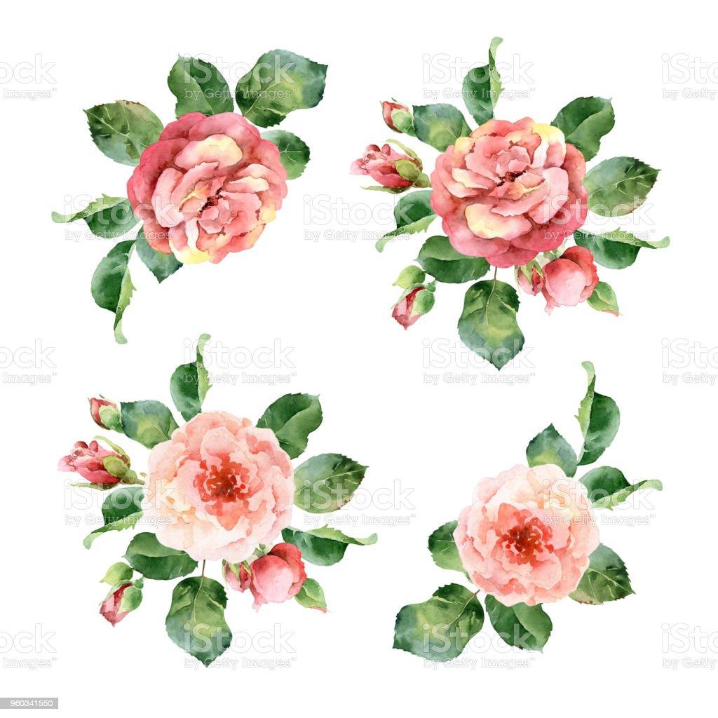 Watercolor corner floral frame of roses vector art illustration