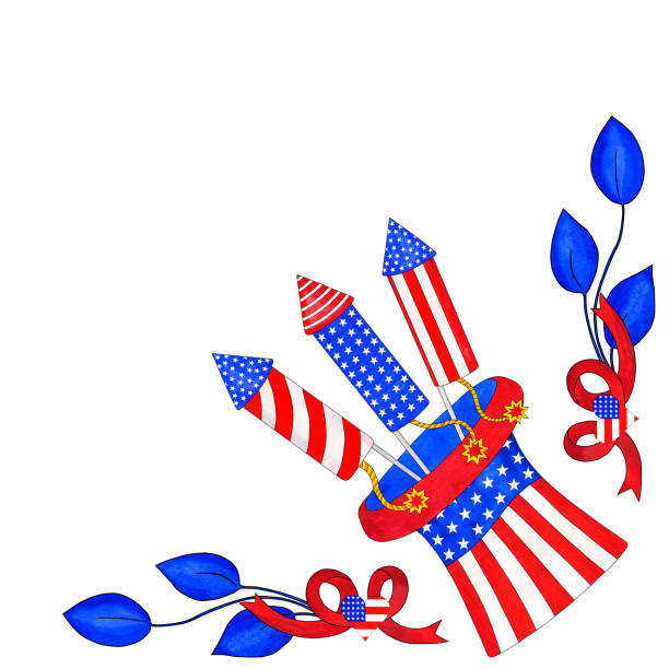 Watercolor corner for 4th of July with Uncle Sam's hat vector art illustration
