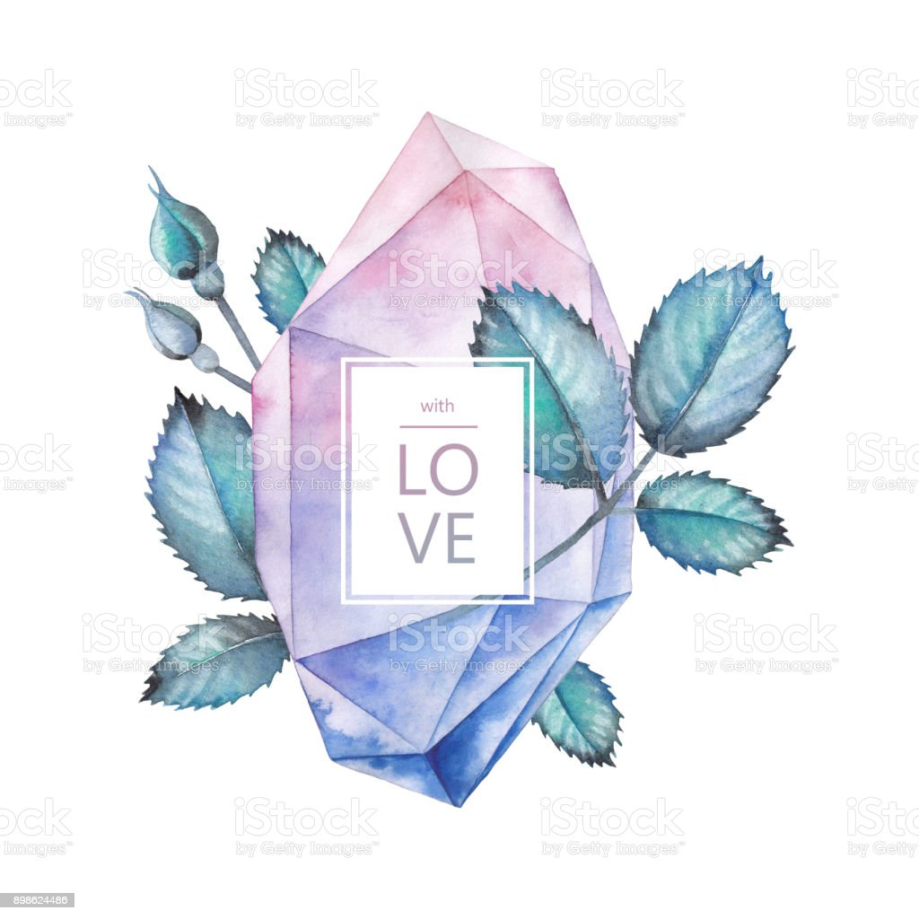 Watercolor crystal and rose leaves vector art illustration
