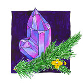 istock Watercolor crystal with fir tree branch and flower. Semiprecious pink and purple gem stone with green twig of Christmas tree and little yellow simple flower on violet square background. Witch magic 1256878659