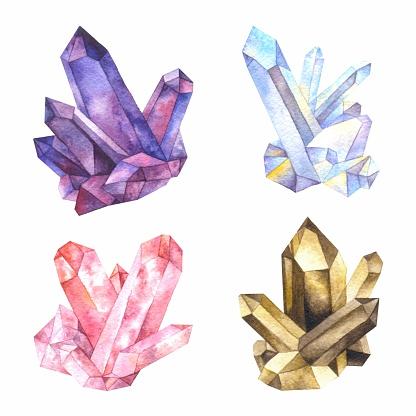 Watercolor crystals of quartz