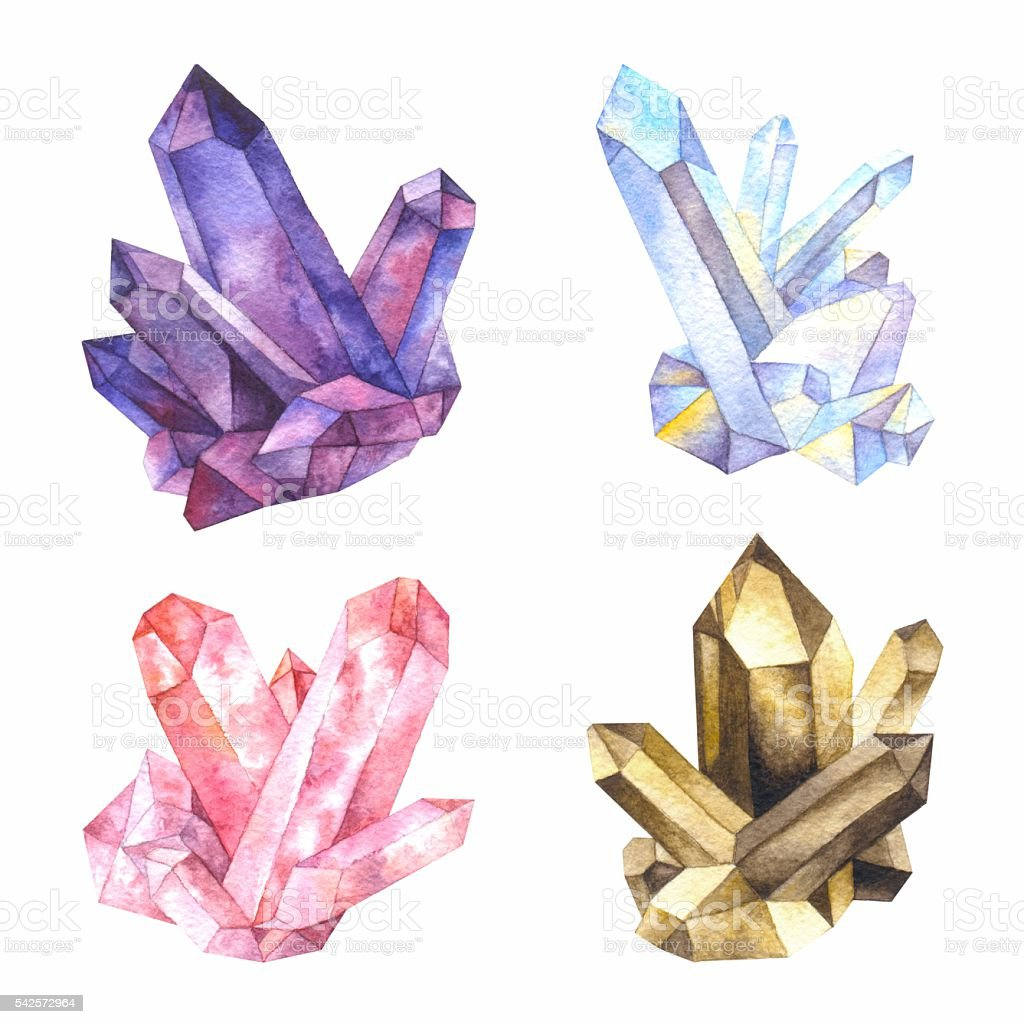 Watercolor crystals of quartz vector art illustration